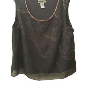 Dana Kay Plus Size Black & Gold Sleeveless Blouse
